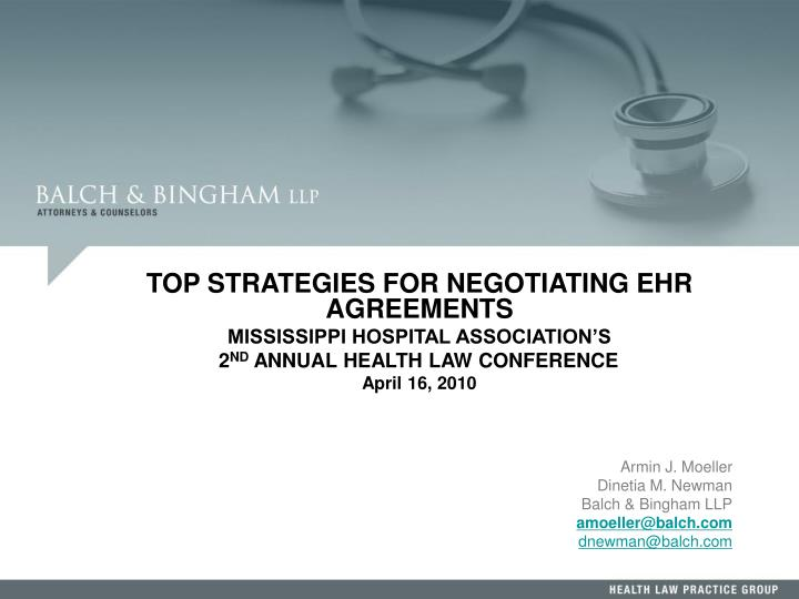 TOP STRATEGIES FOR NEGOTIATING EHR AGREEMENTS