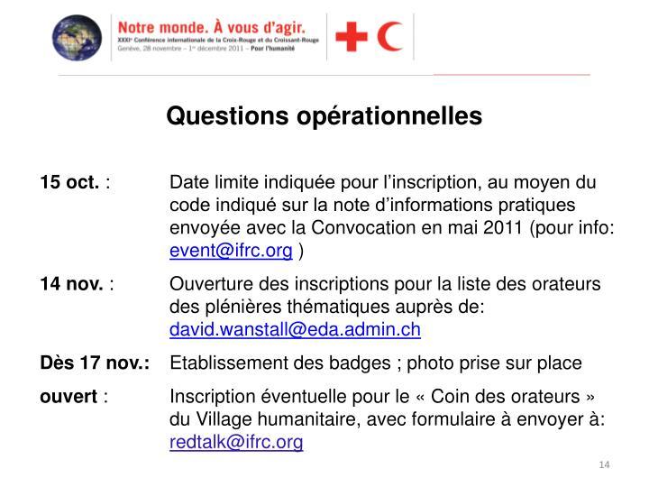 Questions opérationnelles