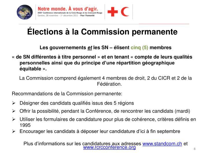 Élections à la Commission permanente