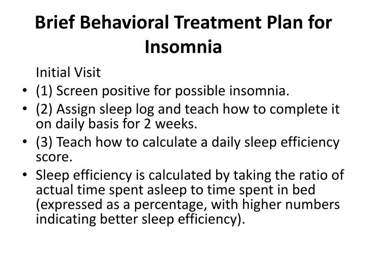 Brief Behavioral Treatment Plan for Insomnia