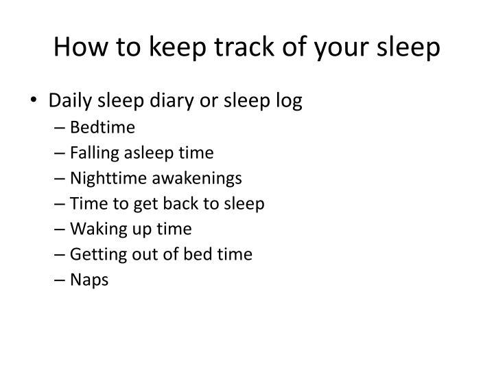 How to keep track of your sleep