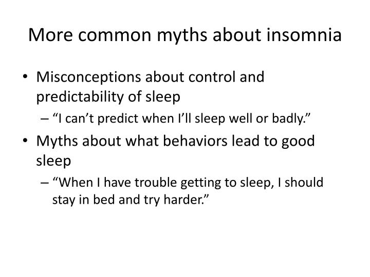 More common myths about insomnia