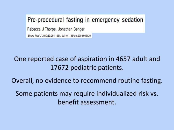 One reported case of aspiration in 4657 adult and 17672 pediatric patients.