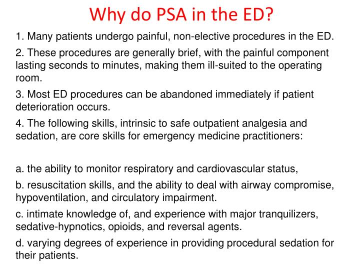 Why do PSA in the ED?