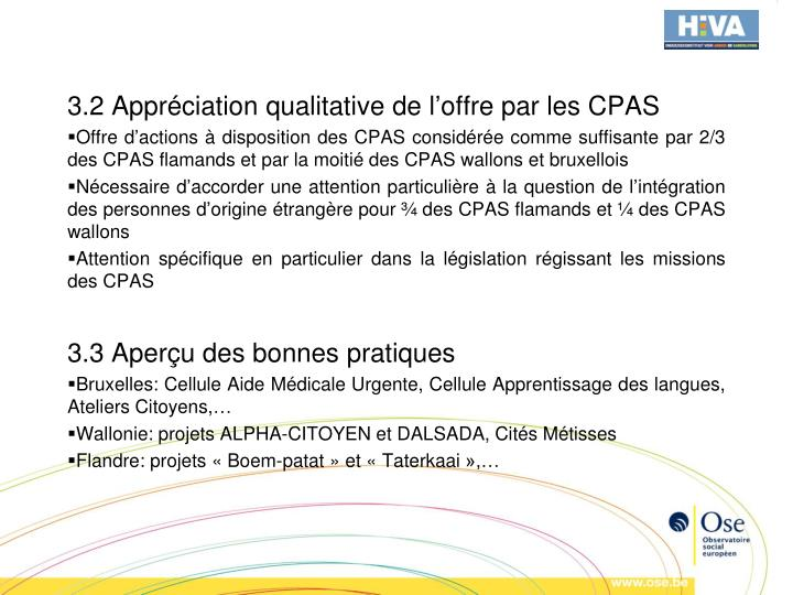 3.2 Appréciation qualitative de l