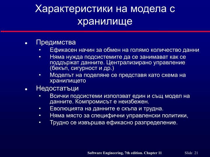 Характеристики на модела с хранилище