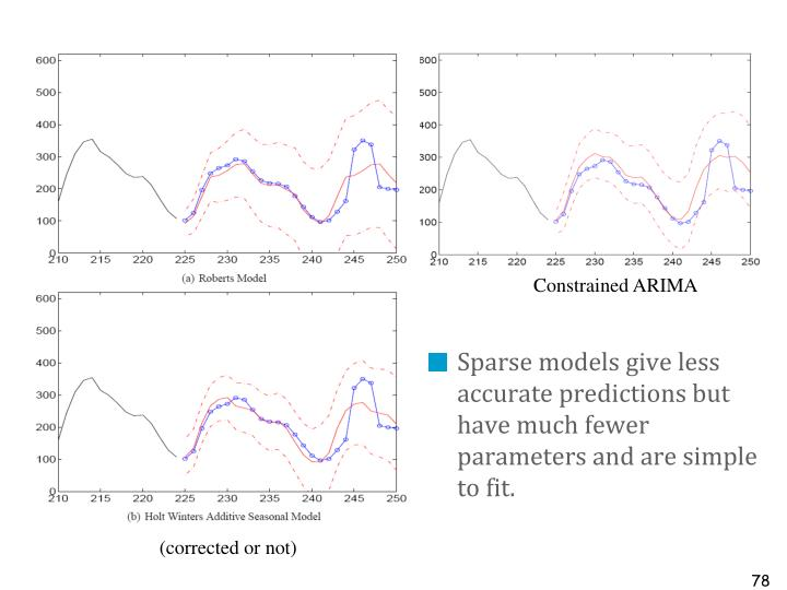 Sparse models give less accurate predictions but have much fewer parameters and are simple to fit.