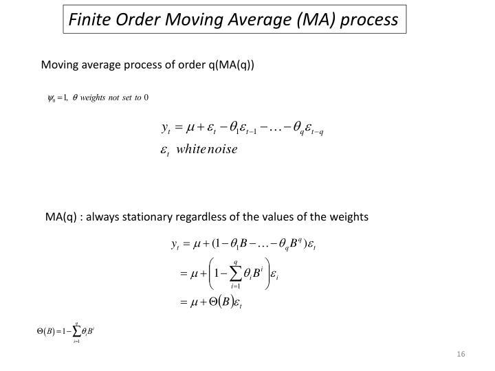 Finite Order Moving Average (MA) process