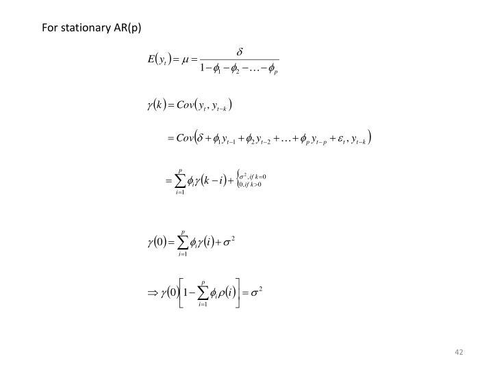 For stationary AR(p)