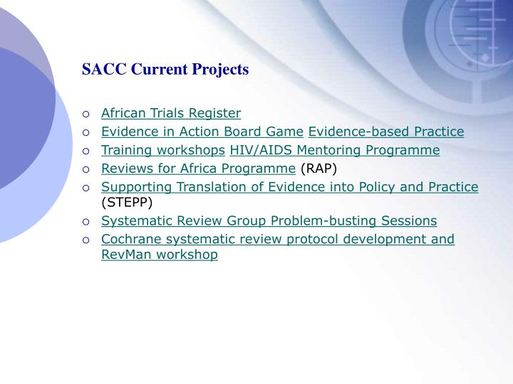 SACC Current Projects