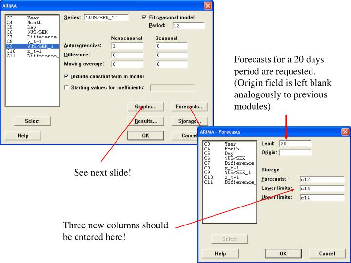 Forecasts for a 20 days period are requested. (Origin field is left blank analogously to previous modules)