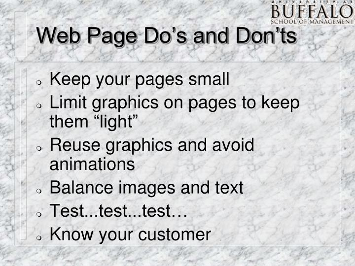 Web Page Do's and Don'ts