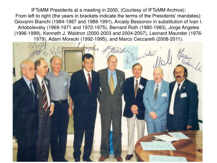 IFToMM Presidents at a meeting in 2000,