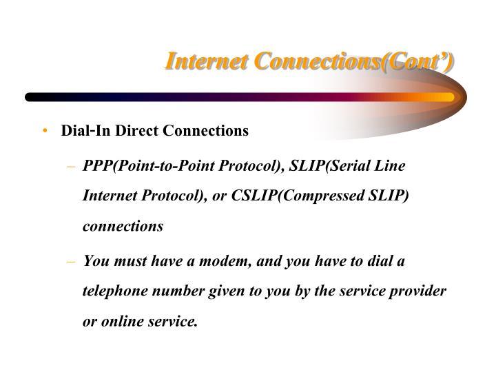 Internet Connections(Cont')