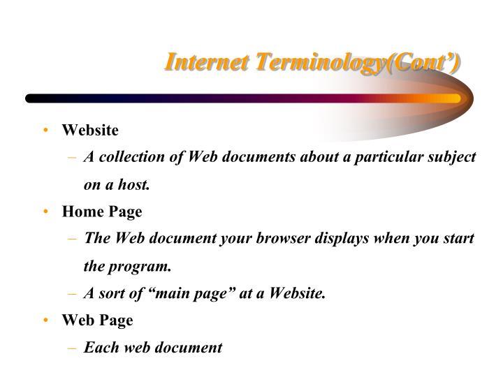 Internet Terminology(Cont')