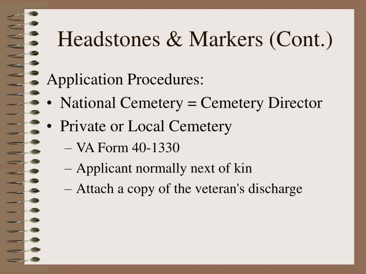Headstones & Markers (Cont.)
