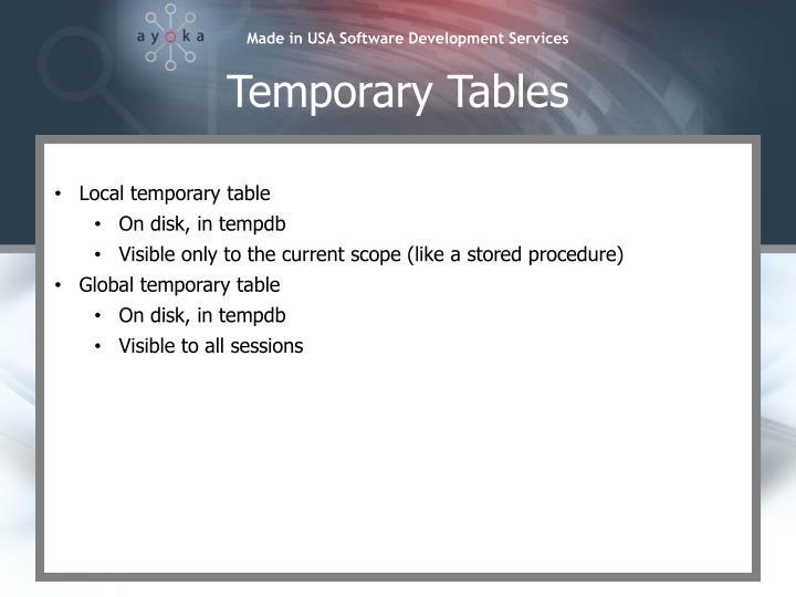 Temporary Tables