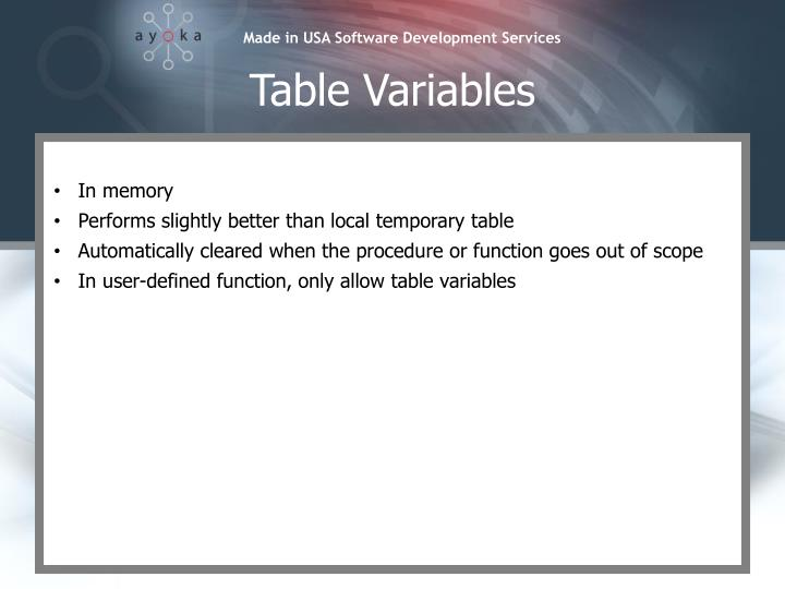 Table Variables