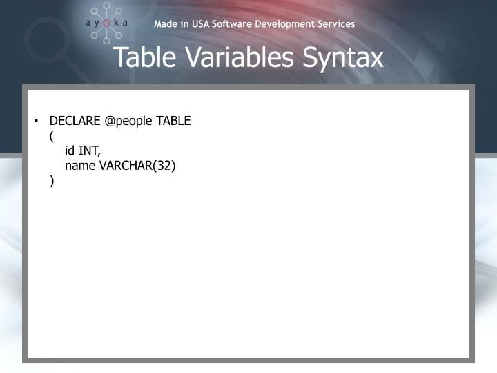 Table Variables Syntax