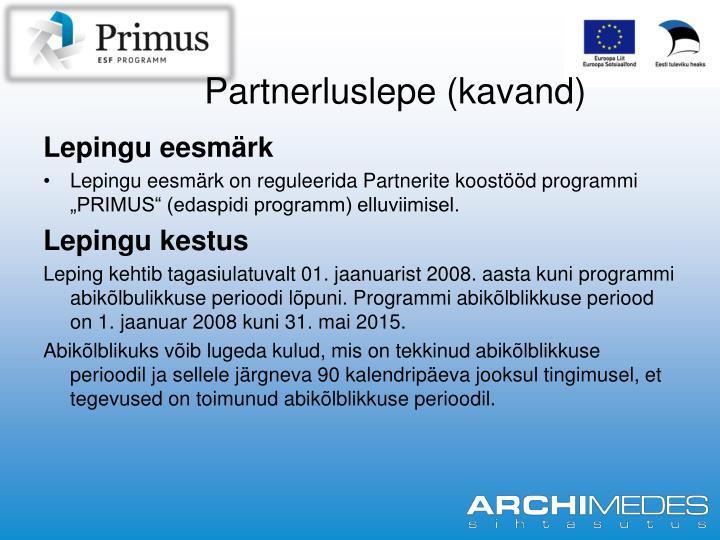 Partnerluslepe (kavand)