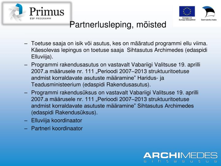 Partnerlusleping, mõisted