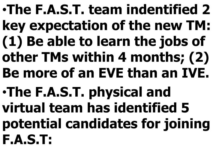 The F.A.S.T. team indentified 2 key expectation of the new TM: (1) Be able to learn the jobs of other TMs within 4 months; (2) Be more of an EVE than an IVE.