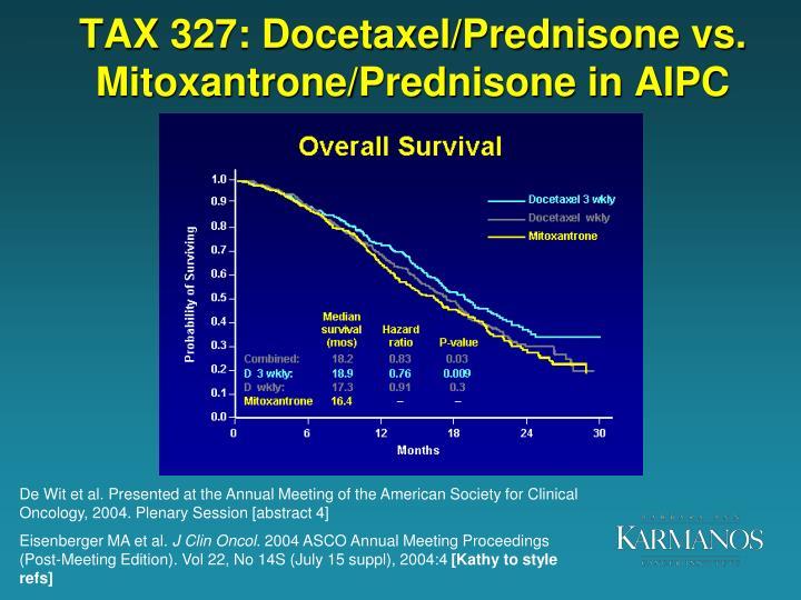 TAX 327: Docetaxel/Prednisone vs. Mitoxantrone/Prednisone in AIPC