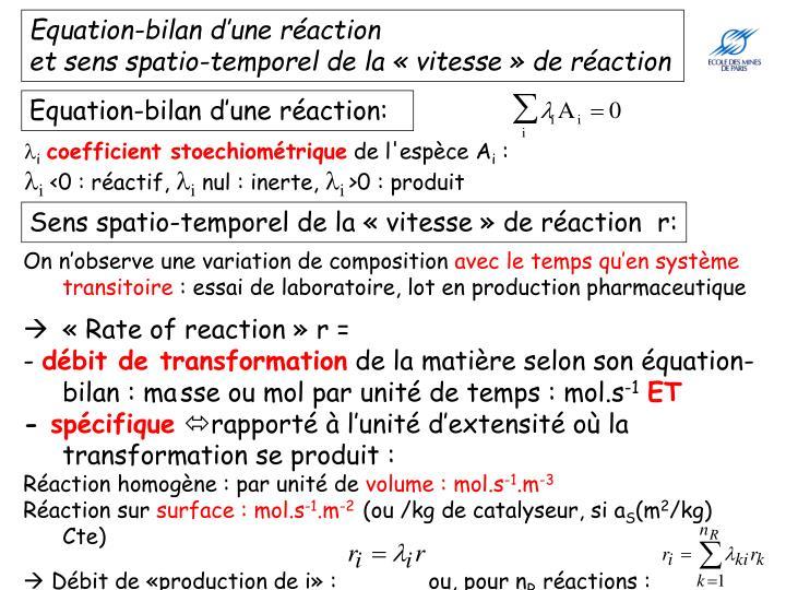 Equation-bilan d'une réaction