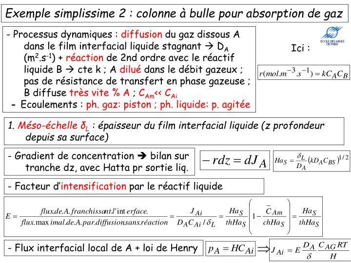 Exemple simplissime 2 : colonne à bulle pour absorption de gaz