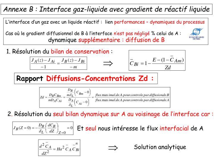 Annexe B : Interface gaz-liquide avec gradient de réactif liquide