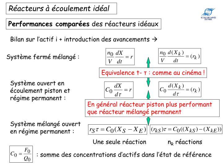Réacteurs à écoulement idéal