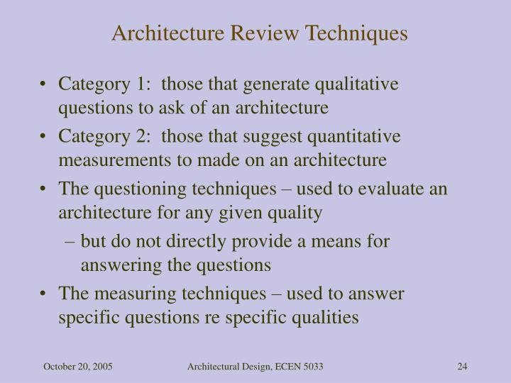 Architecture Review Techniques