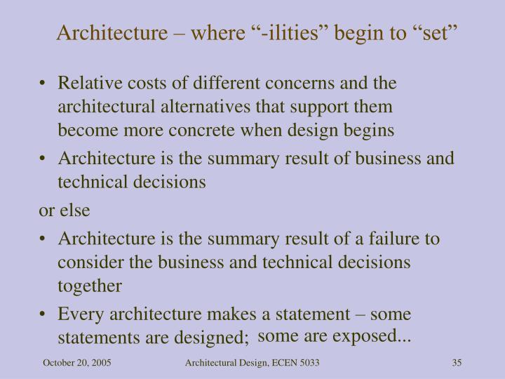 "Architecture – where ""-ilities"" begin to ""set"""