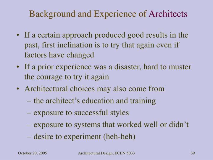 Background and Experience of