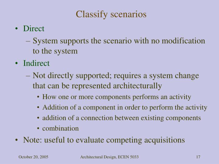Classify scenarios