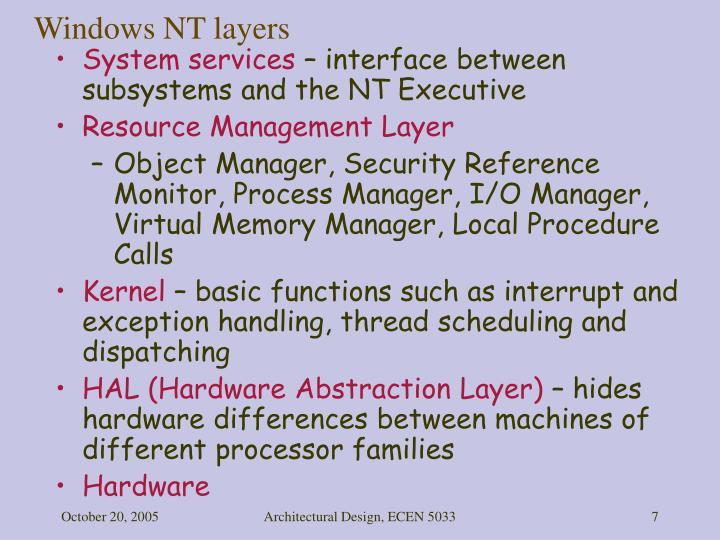 Windows NT layers