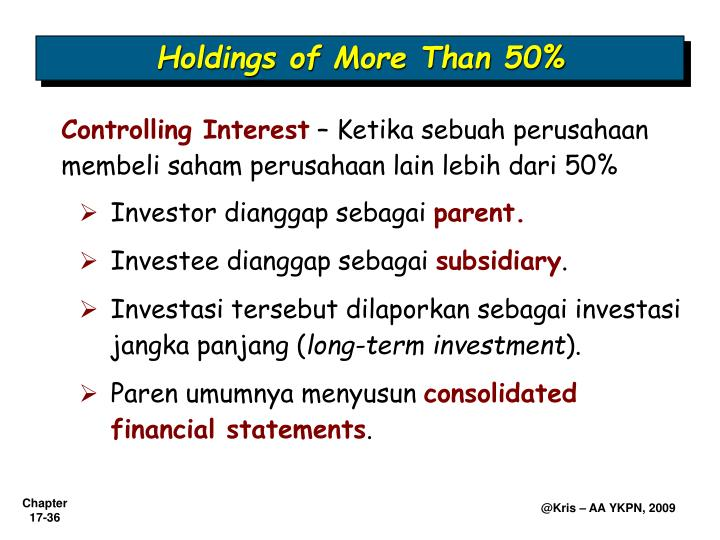 Holdings of More Than 50%