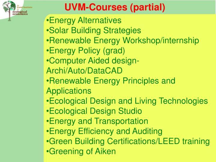 UVM-Courses (partial)