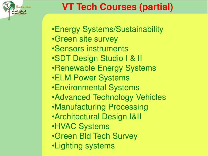 VT Tech Courses (partial)
