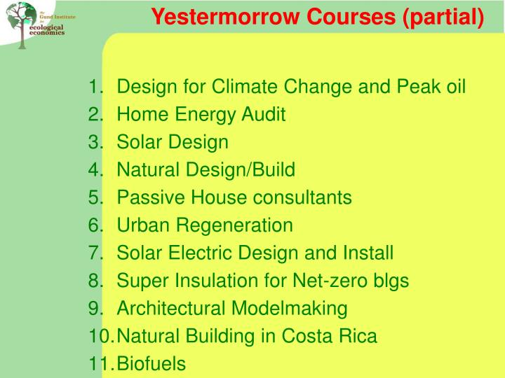 Yestermorrow Courses (partial)