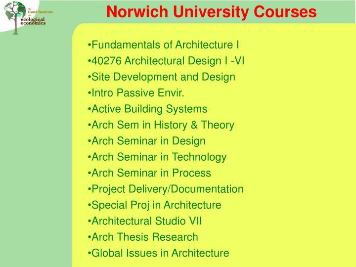 Norwich University Courses