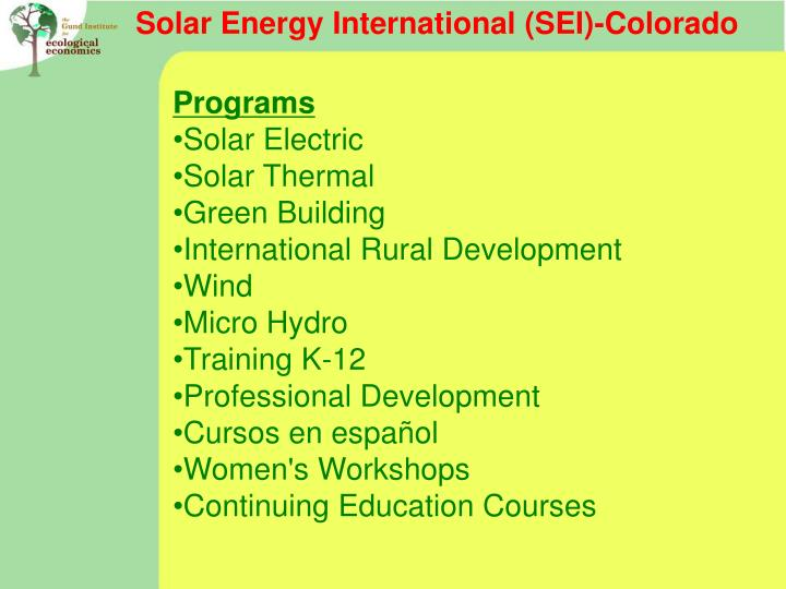 Solar Energy International (SEI)-Colorado