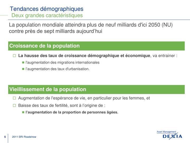 Tendances démographiques