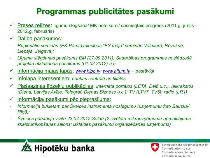 Programmas publicitātes pasākumi