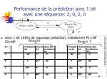 performance de la pr diction avec 1 bit avec une s quence 2 0 2 0