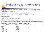 valuation des performances