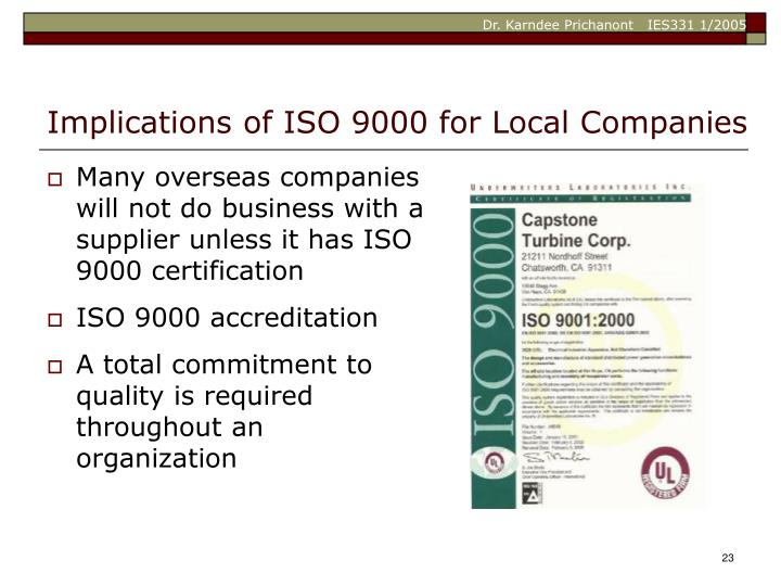 Implications of ISO 9000 for Local Companies