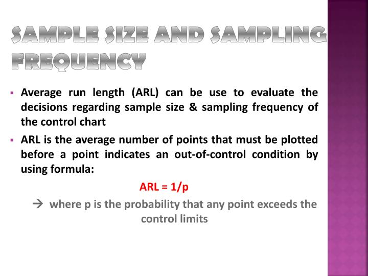 SAMPLE SIZE AND SAMPLING FREQUENCY