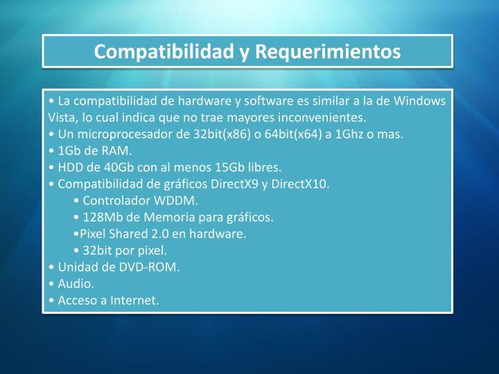 Compatibilidad y Requerimientos
