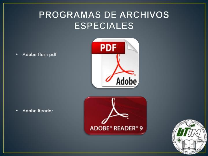 PROGRAMAS DE ARCHIVOS ESPECIALES